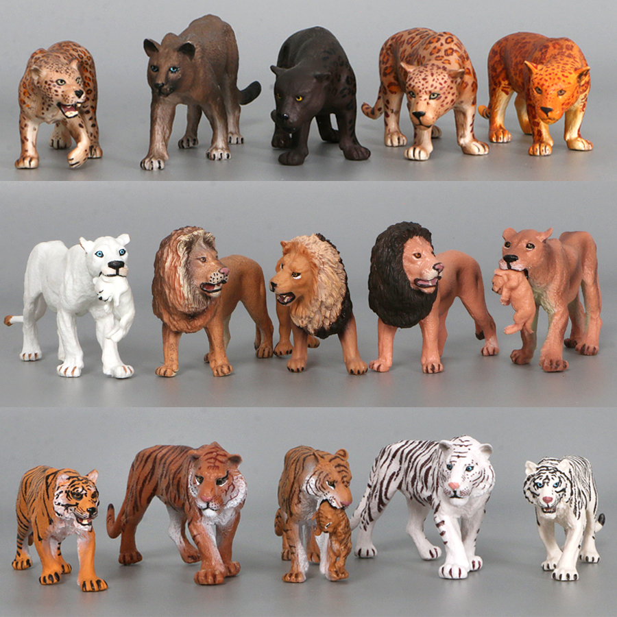 Realistic Wild Forest Animals King Lion Tiger Leopard Action Figures Figurines Collection For Children Education Toy Gift