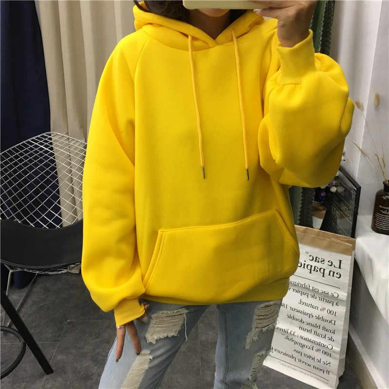 2019 Зимние Повседневные Флисовые женские толстовки с капюшоном, толстовки с длинным рукавом желтого цвета для девушек, Пуловеры свободного кроя с капюшоном, женское плотное пальто