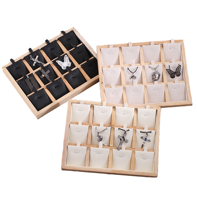 12 Grids Wooden Necklace Jewelry Display Storage Tray Velvet/PU Leather Pendant Display Showcase 25cm*19cm*2.3cm