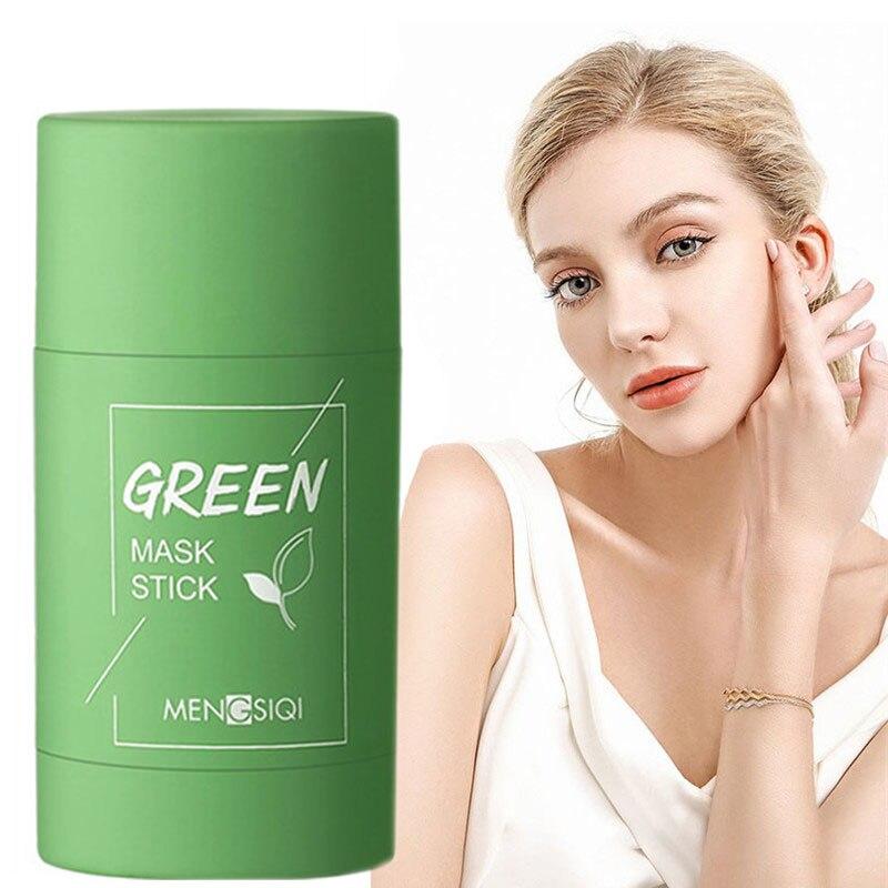 Thé vert masque bâton contrôle de lhuile aubergine acné nettoyage en profondeur masque soins de la peau hydratant enlever points noirs Pores fins masque de boue