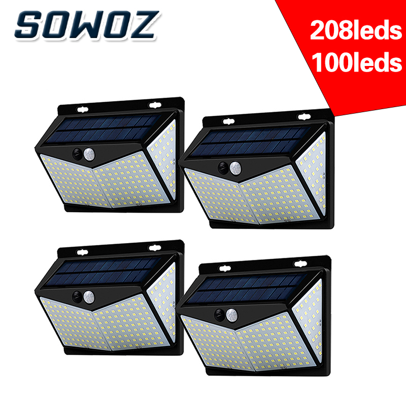 SOWOZ  led solar light outdoors waterproof  208 LED solar lamp PIR motion sensor   CDS night sensor street light  garden light