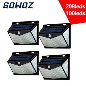 SOWOZ led solar light outdoors waterproof 208 LED solar lamp PIR motion sensor + CDS night sensor street light garden light