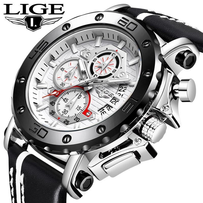 LIGE New Mens Watches Top Brand Luxury Military Sport Watch Men Leather Waterproof Quartz Clock Wristwatch Relogio Masculino+Box
