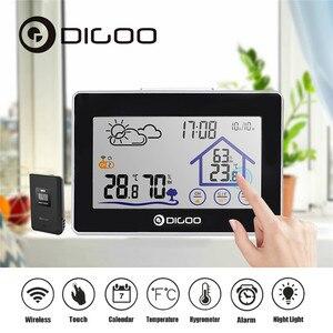 Image 2 - Digoo беспроводной термометр с сенсорным экраном, гигрометр для помещения, метеостанция, уличный датчик прогноза погоды, часы, календарь
