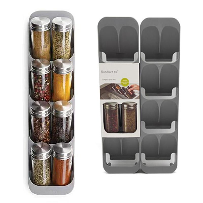 Eight Slots Drawer Condiment Seasoning Bottle Storage Holder 8 Grid Crucible Storage Organizer Condiment Tank Kitchen Organizer