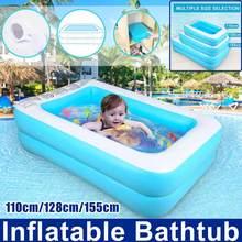 110/128/155 cm piscina inflável retangular piscina para crianças piscina de natação piscina de natação piscina de verão exterior banheira de banho para crianças