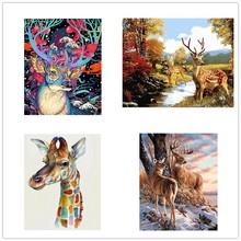 New DIY Framed lovly deer baby Oil Painting By Numbers Animal Anime Colorful Paint Wall Art Picture for Living Room Home Decor(China)