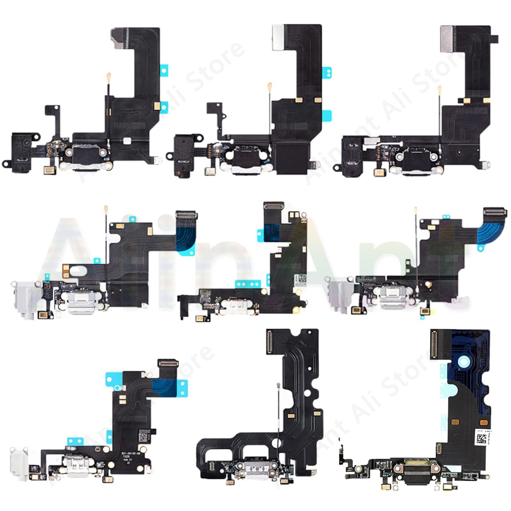 USB Charging Port Charger Dock <font><b>Connector</b></font> Charging Flex Cable For <font><b>iPhone</b></font> 5S 5 5C SE 6 <font><b>6s</b></font> Plus Phone Mic Flex Repair Parts image