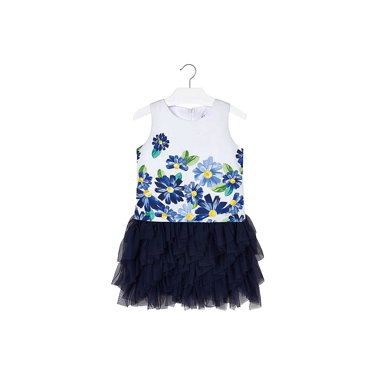 MAYORAL Dresses 10681335 Girl Children Party fitted pleated skirt Blue Cotton Preppy Style Floral Knee-Length Sleeveless Sleeve navy velvet mini pleated skirt