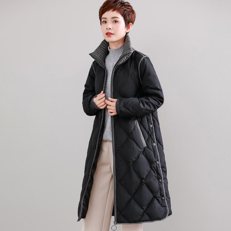 White duck   down   90%   Down     Coats   Women 2019 Winter new Thick Long section   Coat   black Large size S-XXXL Loose   Down   jacket Women