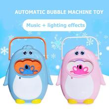 Automatic Penguin Bubble Machine Toys For Children without Liquid Electric Bubbler Music  Lighting Effect for