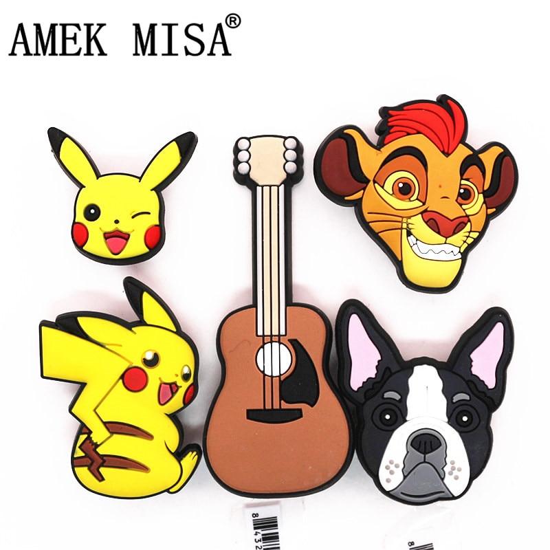 Single Sale 1pcs Original Animals Shoe Charms Decoration Cartoon Pikachu/Violin/Lion/Pug Shoe Buckle Accessories Free Shipping