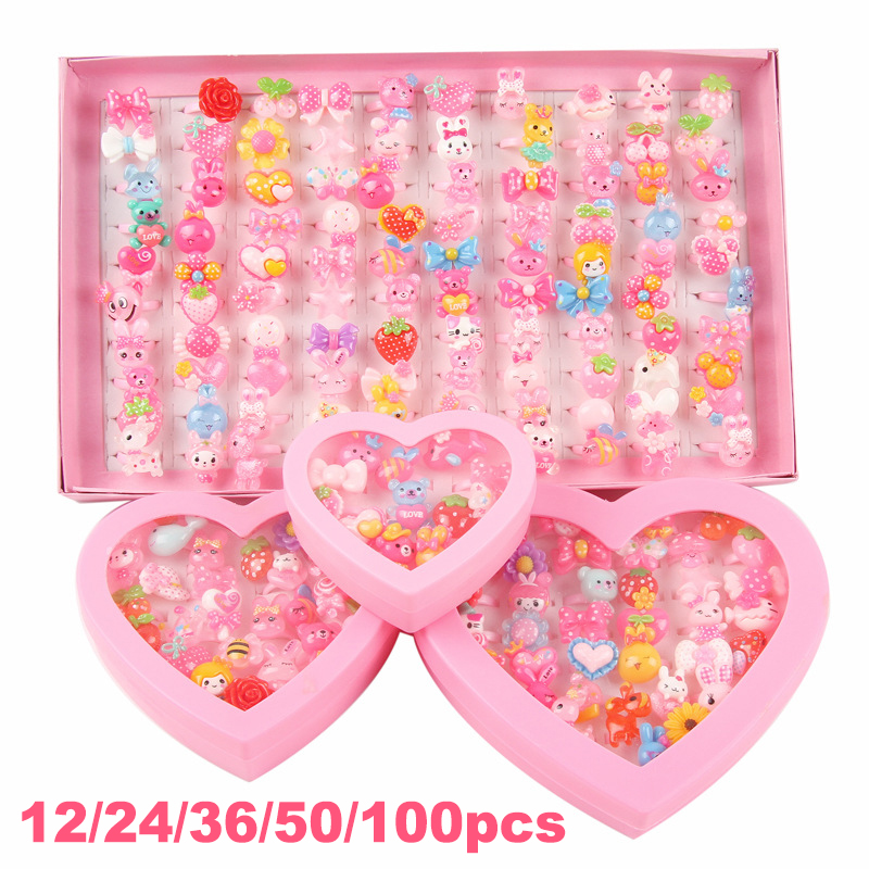 Kids Baby Rings Party Jewelry 100pcs Lovely Mixed Sun Flower Cartoon Elsa Minnie Princess Girls Princess Children Gift
