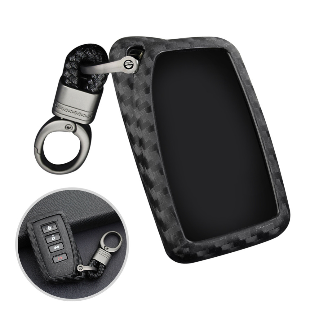 Carbon Fiber Style Car Key Fob Case Cover Chain Ring Keychain Black For Lexus