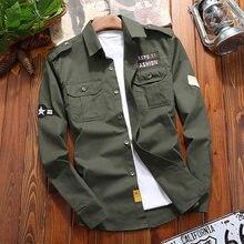 Waidx Military Shirt Khaki Men's Shirts Vintage Jacket Cotton Casual Slim Fit with Pocket Long Sleeve Streetwear Drop Shipping