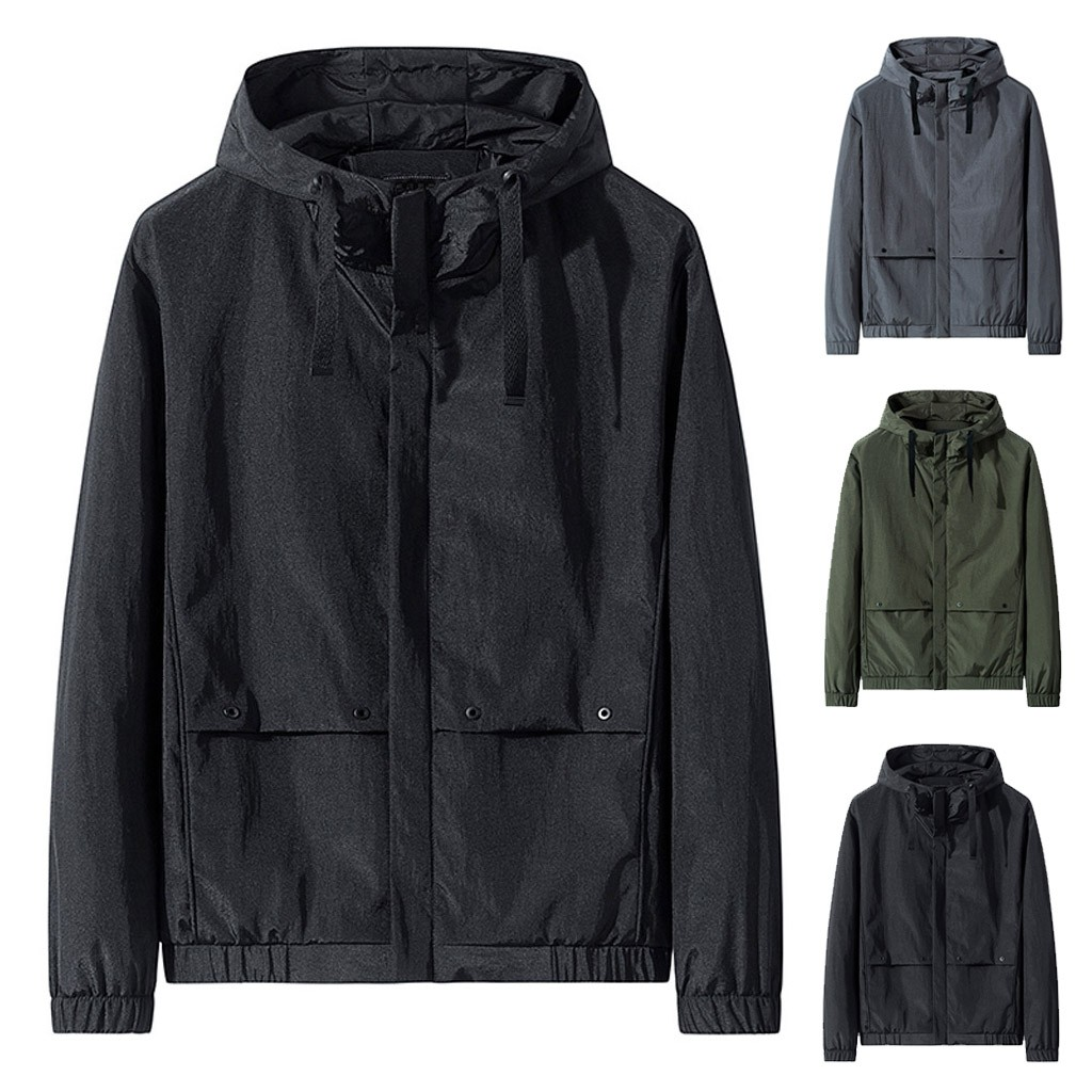 Mens Casual Fashion Solid Color Hooded Zipper Loose Outwear Tops Jacket Blouse jacket winter jacket men jacket men men jacket