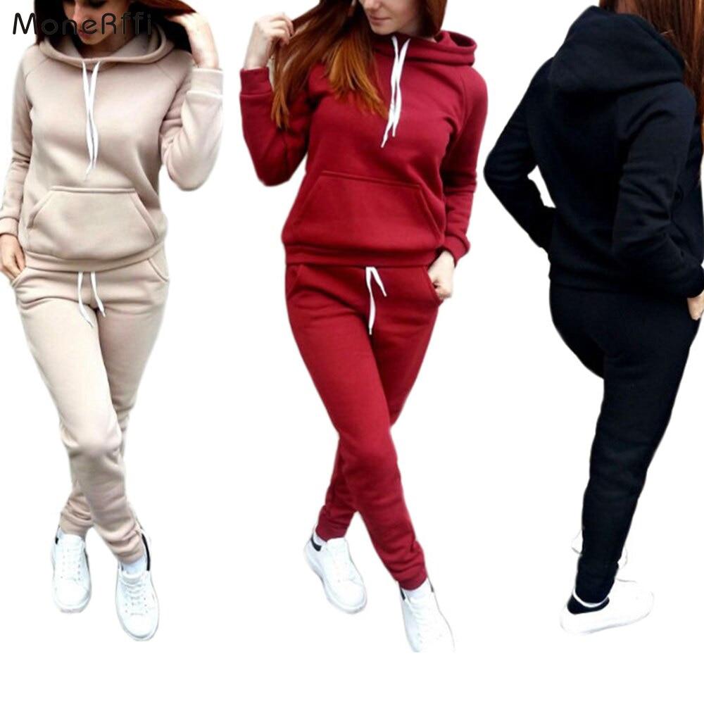 MoneRffi 2 Piece Set Women Hoodies Pant Clothing Set Warm Newest Clothes Ladies Solid Tracksuit Women Set Top Pants Suit Female