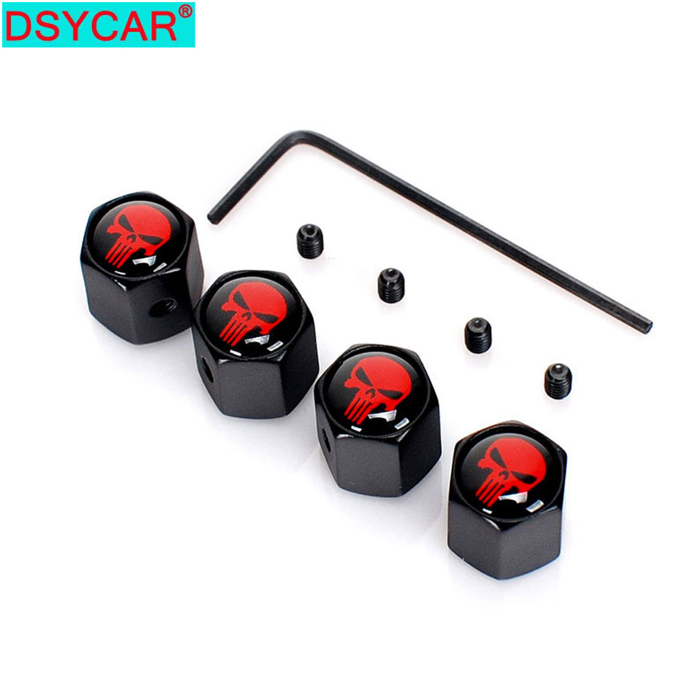 DSYCAR 4Pcs/Set Car Auto Wheel Tyre Tire Stem Air Valve Caps Dust Covers Skull For Car/Motorcycle,Air Leakproof(China)