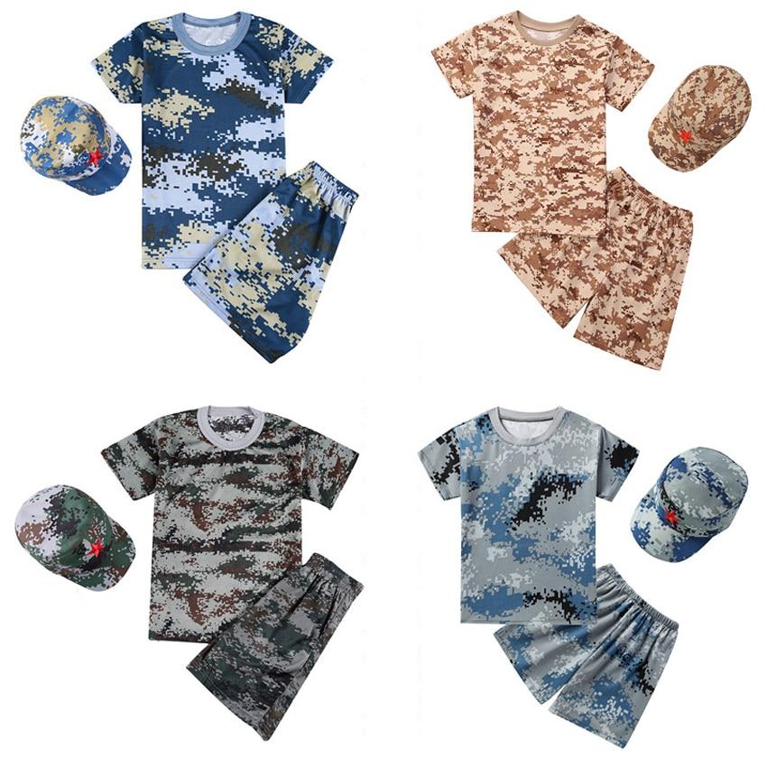 Kids US Army Suit Military Uniform Clothing Set Summer Camp Short Sleeve T-shirt+shorts Camouflage Training Army Suit