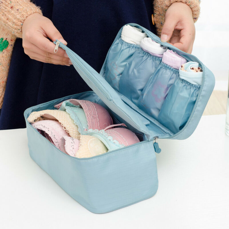 Hot Drop Shipping Women Bra Underwear Socks Packing Cube Portable Travel Storage Bag Waterproof Solid Luggage Organizer 6 Colors