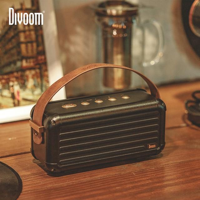 Divoom Mocha 40W Superior Bass Portable Wireless Bluetooth Speaker Retro Design 6 Drivers for 25h playtime Smart Home Decoration