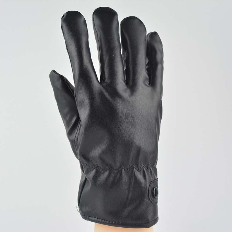 New Men's Touch Screen Gloves Autumn And Winter PU Plus Velvet Warm Riding Gloves