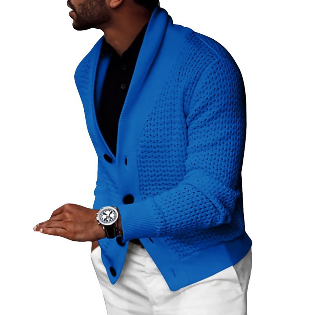 Autumn Men Solid Color Hollow Cardigan Buttons Coat Warm Knit Sweater Jumpers 4