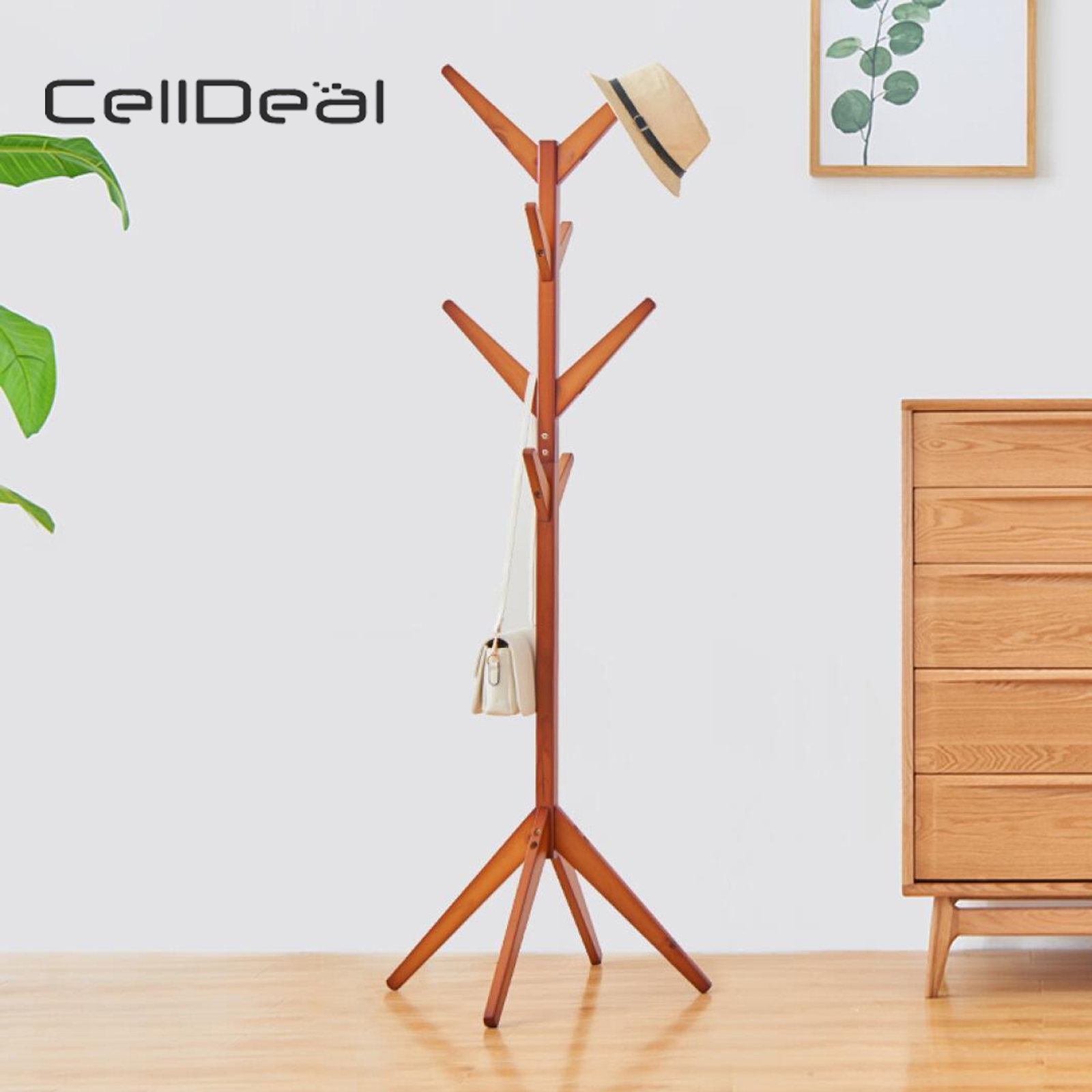 Wooden Coat Rack Clothes Stand Hanger Hat Jacket Bag Umbrella 8/9 Hooks Clothes Rack Hat Display Garment Rack Hanger Stand