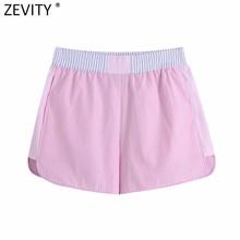 Zevity-pantalones Cortos con estampado de almazuela de rayas para mujer, Shorts informales elegantes con cintura elástica, Color rosa, P1029