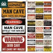Putuo decoração homem caverna metal sinal de estanho do vintage engraçado aviso minhas regras cuidado para bar pub clube homem caverna sala de jogo decoração da parede
