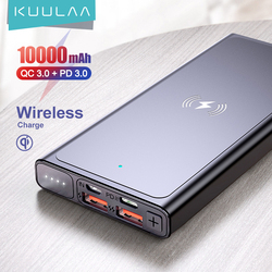 KUULAA Power Bank Wireless Charger 10000mAh Qi powerbank Wireless Portable Charge For iPhone 12 Xiaomi Huawei PD QC3.0 Poverbank