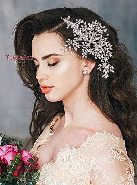 Роскошные свадебные украшения для волос TOPQUEEN с искусственными кристаллами, свадебные аксессуары, Свадебный зажим для волос, свадебная тиара, свадебная повязка на голову