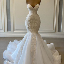 Wedding-Dresses Beaded Embroidery Sweetheart Organza Bridal Mermaid-African White Sexy