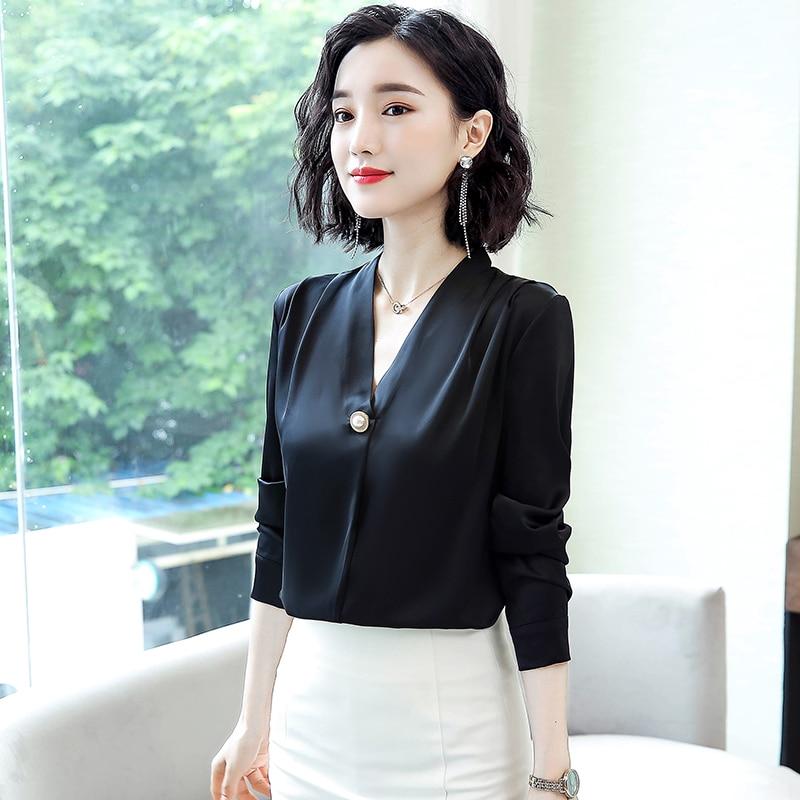 Korean Silk Women Blouses Elegant Women Satin Blouse Long Sleeve Shirts Woman V-neck White Shirt Plus Size Blusas Mujer De Moda