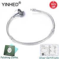 Have Certificate! Hot Sale S925 Logo DIY Jewelry Making Charms Bracelet Bangle Original Sterling Silver Bracelet for Women ZB043