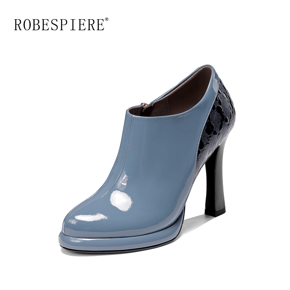 ROBESPIERE 2019 Sexy Fashion Womens Pumps Elegant Pointed Toe Office Lady Shoes Genuine Leather High Heel Mixed Colors A9