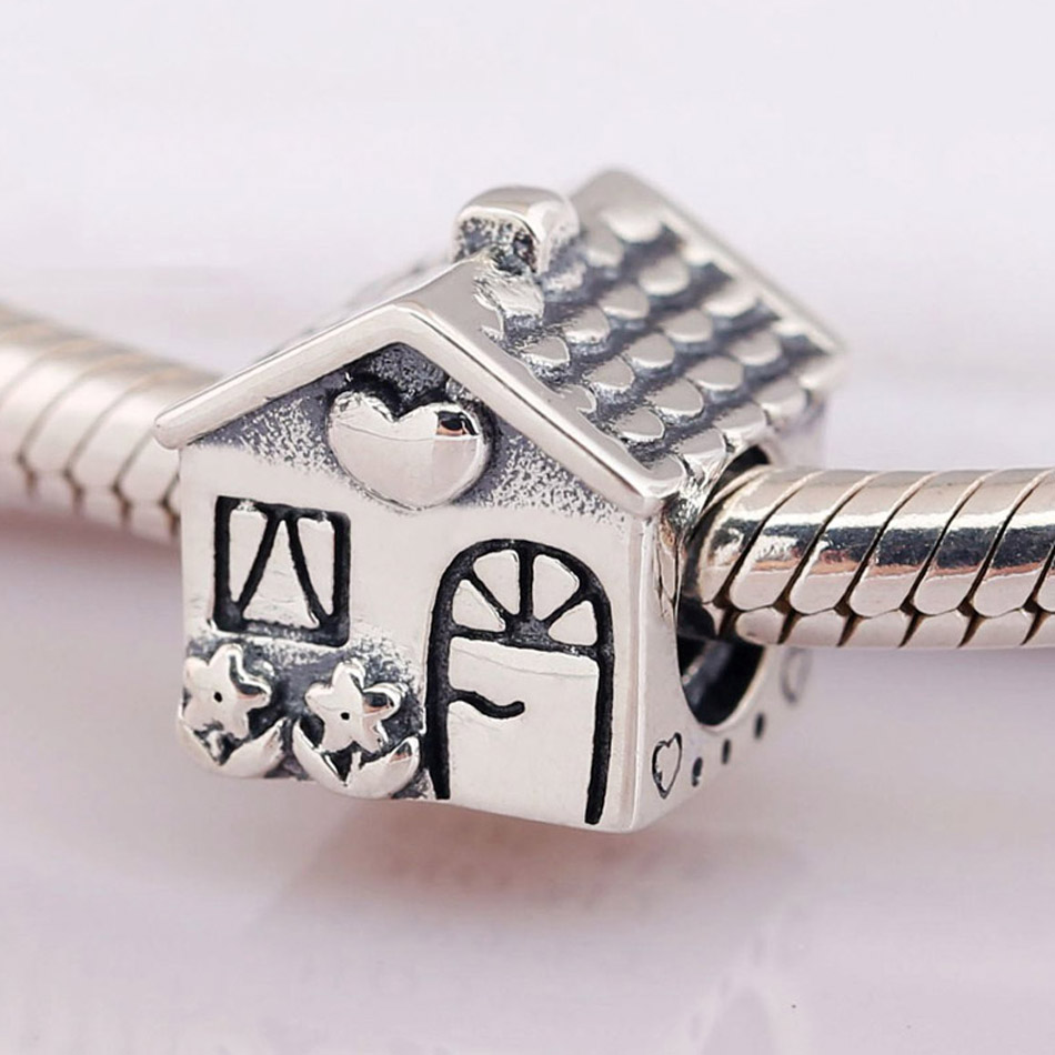 Authentic S925 Silver Bead DIY Jewelry Home Sweet Home Charms fit Pandora Bracelet Girl Lady Birthday Gift(China)