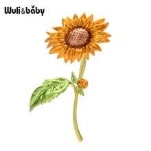 Новинка эмалированные Броши wuli & baby в виде подсолнуха для