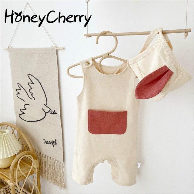 Комбинезон для маленьких девочек, милая одежда из одного элемента с лямками и шапками, Одежда для новорожденных
