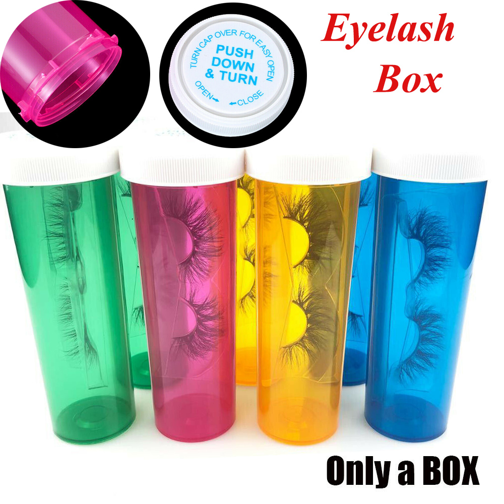 Portable Eyelashes Packing Box Sealed Packing Plastic Small Pill Bottles Reusable Container Mink Lashes Square Round Empty Case
