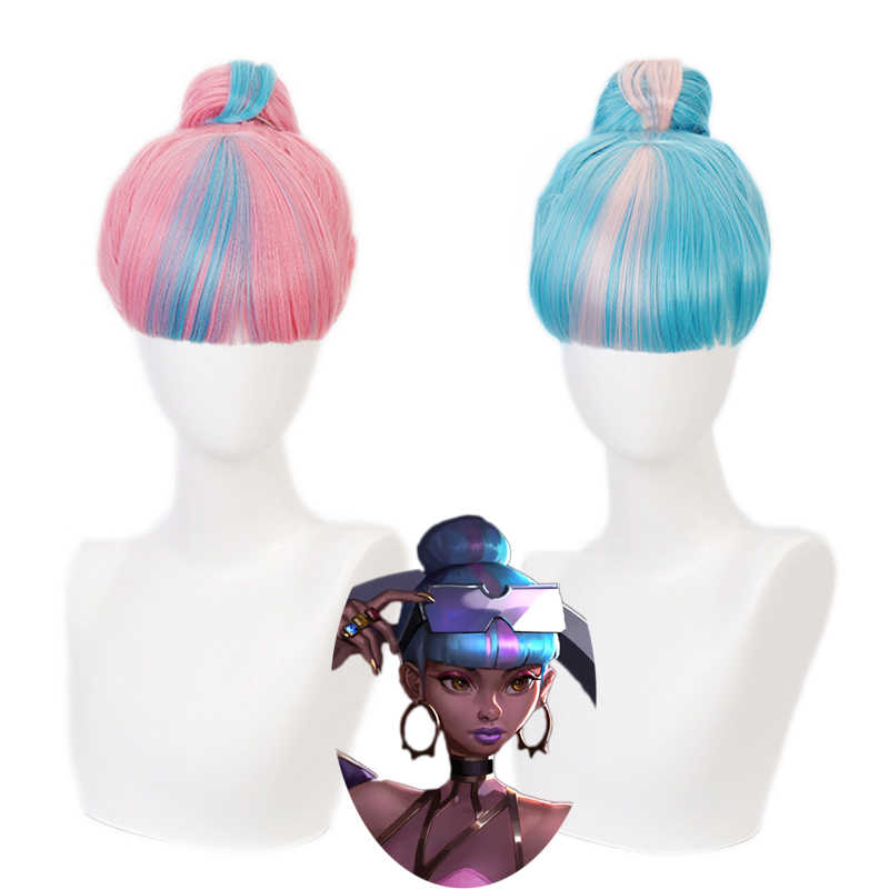 True Damage Qiyana Pink Blue Wig With Bun Cosplay Costume Heat Resistant Synthetic Hair Women Party Wigs