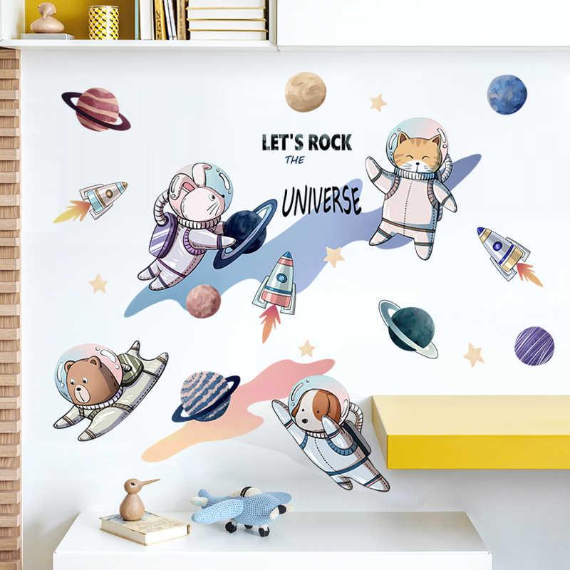 Cohete nave astronauta dibujos animados creativo vinilo etiqueta de la  pared para la decoración para habitación de niño espacio exterior etiqueta  de ...