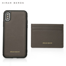 Hiram Beron FREE custom name gift product grey card case with cell phone case luxury gift for family dropship(China)