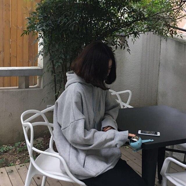 Vestes à capuche femmes à capuche solide plus épais poches lâche sweat à capuche pour femme loisirs Simple all-match Style coréen à la mode Chic étudiants Kawaii