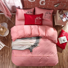 Yimeis Bed Linen Cotton Solid Color Bed Sets Queen Size Comforter Bedding Sets Queen BE47324(China)