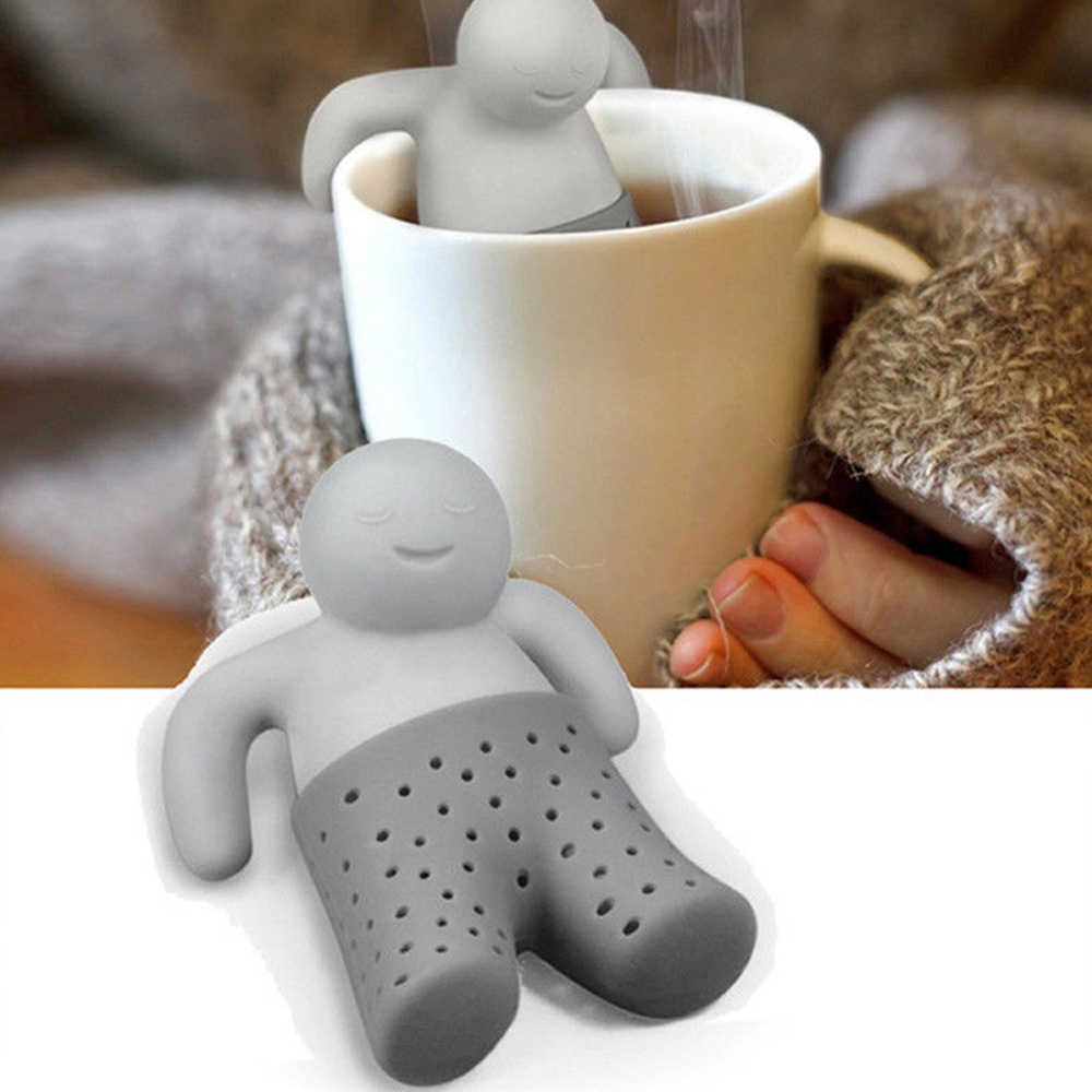 1 PCS Kitchen Supplies Tea Strainer Non-Toxic Interesting Life Partner Cute Mister Shape Silicone Tea Tea Bag Teapot Accessory