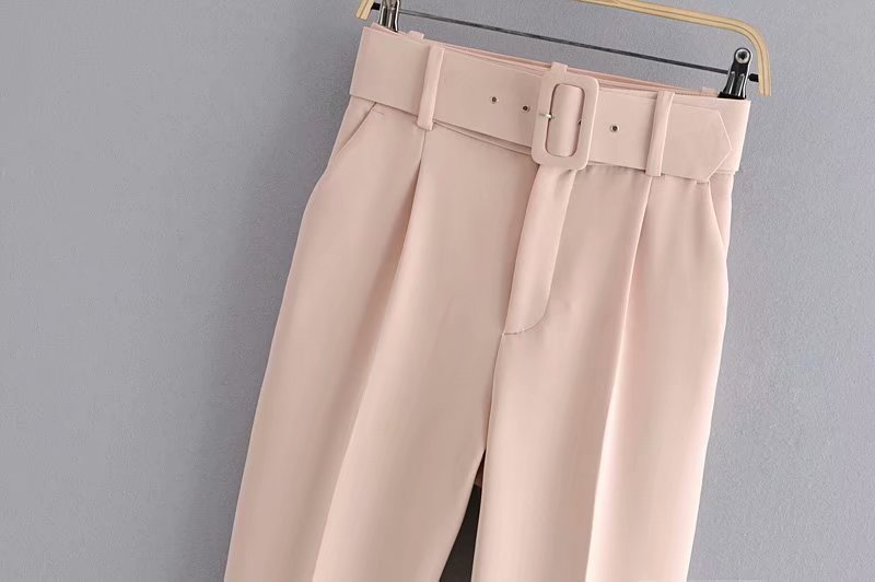 H981d2216e7ba4c199521f102ba2e31b0I - Office Lady Black Suit Pants With Belt Women High Waist Solid Long Trousers Fashion Pockets Pantalones FICUSRONG Pencil