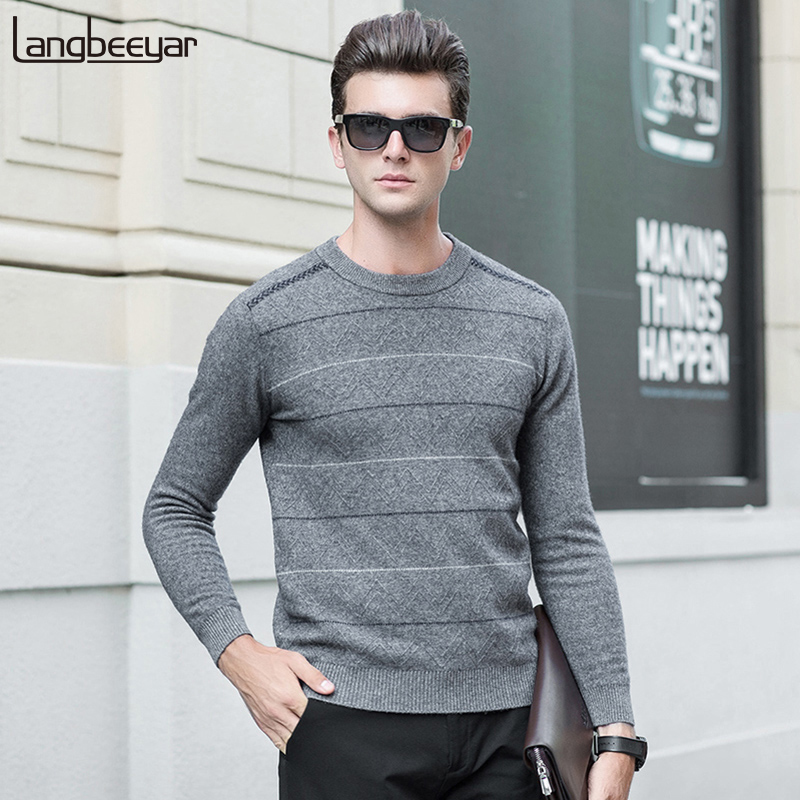 100% Wool New Fashion Brand Sweater  Men's Pullovers Slim Fit Jumpers Knitwear O-Neck Autumn Striped Casual Mens Clothes