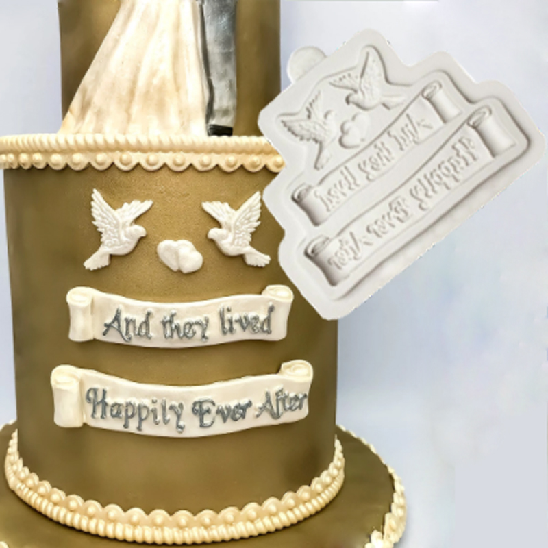 Happily Ever After Molds Fondant Cake Decorating Tools Silicone Molds Chocolate Baking Tools for Cakes Gumpaste Fimo image