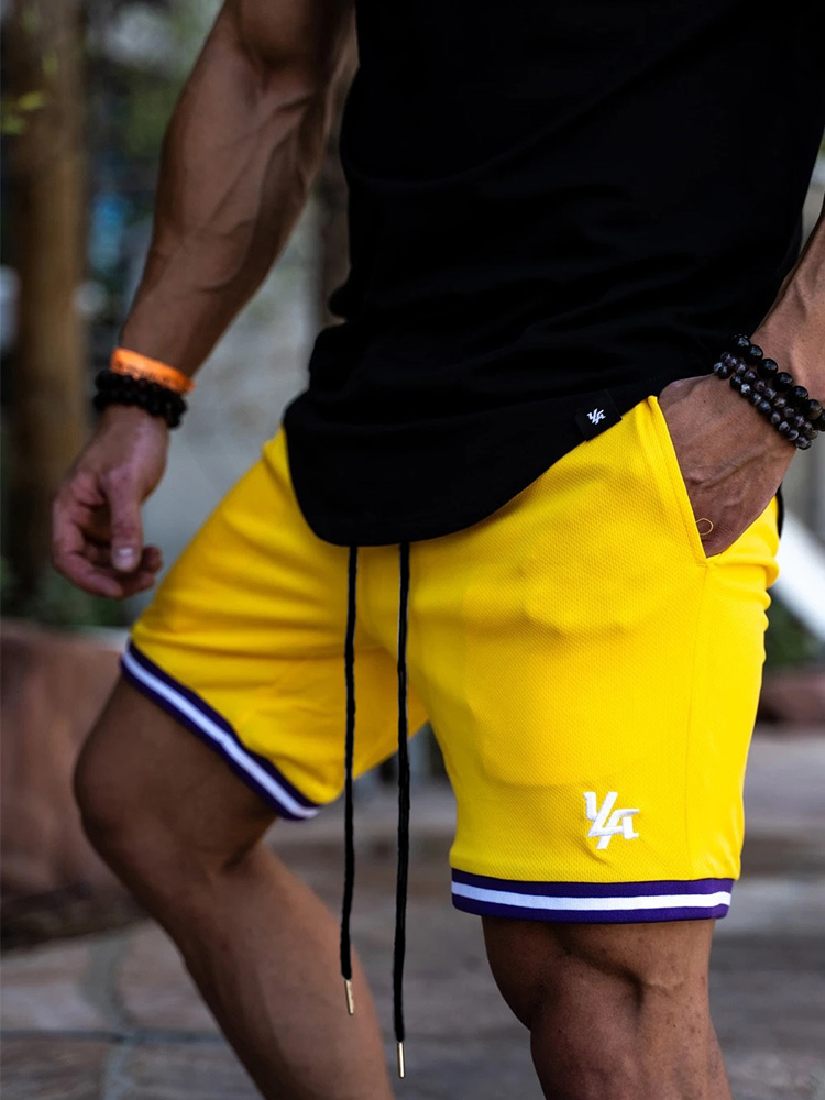 Men Fitness Bodybuilding Shorts Man Summer Gyms Workout Male Breathable Mesh Quick Dry Sportswear Jogger Beach Short Pants